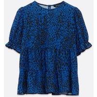 Blue Leopard Print Tiered Peplum Blouse New Look