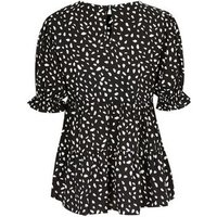 Black Abstract Spot Tiered Peplum Blouse New Look