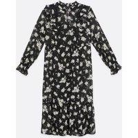 Black Floral Lace Chiffon Smock Midi Dress New Look