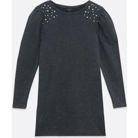 Black Embellished Puff Sleeve Sweatshirt Dress New Look
