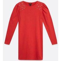 Red-Embellished-Puff-Sleeve-Sweatshirt-Dress-New-Look