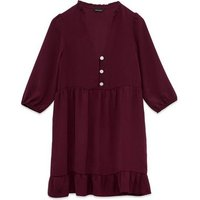 Burgundy Gem Button Smock Dress New Look