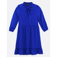 Bright Blue Tie Neck Button Up Smock Dress New Look