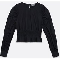 JDY Black Shirred Hem Puff Sleeve Blouse New Look