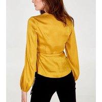 Blue Vanilla Yellow Jacquard Satin Wrap Top New Look