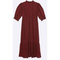 Maternity Burgundy Spot Tiered Hem Midi Dress New Look