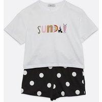 Girls White Sunday Slogan Spot Short Pyjama Set New Look