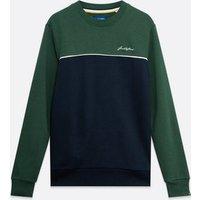 Jack & Jones Dark Green Colour Block Logo Sweatshirt New Look