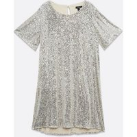 Curves Silver Sequin T-Shirt Dress New Look