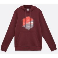 Men's Jack & Jones Dark Red Circle Logo Hoodie New Look