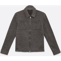Men's Jack & Jones Grey Jersey Shacket New Look