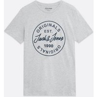 Men's Jack & Jones Pale Grey Circle Logo T-Shirt New Look