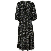 Black Ditsy Floral 1/2 Puff Sleeve Midi Smock Dress New Look
