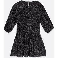 Black Spot Tiered Mini Smock Dress New Look