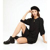 Black Spot Tiered Smock Mini Dress New Look