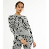 Petite Light Grey Leopard Print Knit Jumper New Look