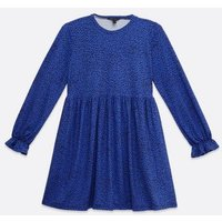 Blue Animal Print Soft Touch Smock Dress New Look