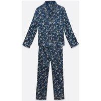 Vero Moda Navy Satin Floral Trouser Pyjama Set New Look