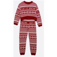 Girls Red Fair Isle Knit Matching Family Christmas Pyjama Set New Look