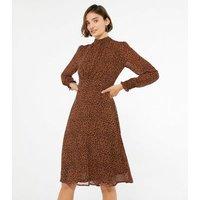 Blue Vanilla Brown Leopard Print High Neck Dress New Look