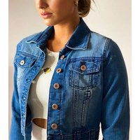 Urban Bliss Blue Cropped Denim Jacket New Look