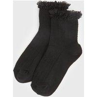 Girls Black Cable Frill Trim Socks New Look