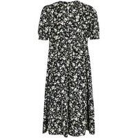 Curves Black Floral Puff Sleeve Midi Smock Dress New Look