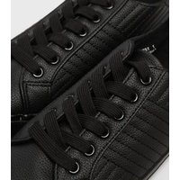 Wide Fit Black Quilted Leather-Look Trainers New Look Vegan