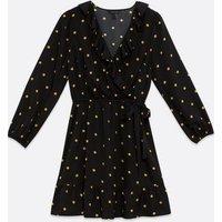Black Spot Frill Wrap Mini Dress New Look