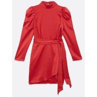 Red Satin High Neck Mini Dress New Look