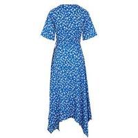 Blue Ditsy Floral Asymmetric Wrap Midi Dress New Look