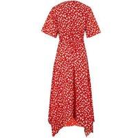Red Ditsy Floral Asymmetric Wrap Midi Dress New Look
