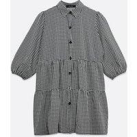 Black Check Smock Shirt Dress New Look