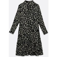 Navy Dash Print Tiered Smock Shirt Dress New Look