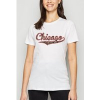 White Leopard Print Chicago Slogan T-Shirt New Look