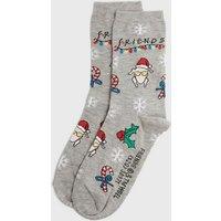 Grey Friends Logo Christmas Turkey Socks New Look