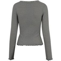 White Stripe Long Sleeve Frill Trim Top New Look