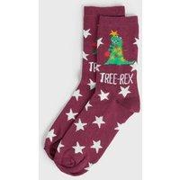 Dark Purple Christmas Tree Rex Star Socks New Look