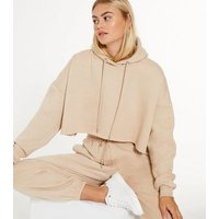 Cameo Rose Light Brown Jersey Cropped Hoodie New Look
