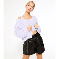 Petite Lilac Fluffy Knit Bralette New Look