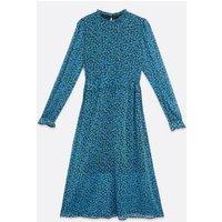 Blue Floral High Frill Neck Midi Dress New Look