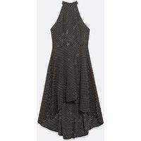 Mela Black Spot Dip Hem Halterneck Dress New Look