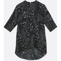 Mela Dark Grey Leopard Print Tunic Top New Look