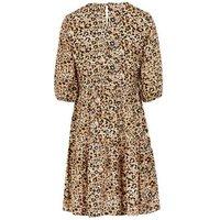 Brown Leopard Print Puff Sleeve Smock Dress New Look