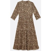 Brown Leopard Print Tiered Hem Midi Dress New Look