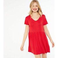 Red-Jersey-Short-Sleeve-Skater-Dress-New-Look