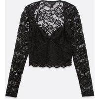 Black Lace Long Sleeve Crop Top New Look
