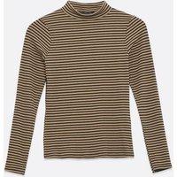 Petite Brown Stripe Long Sleeve High Neck Top New Look