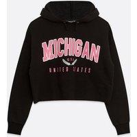 Girls Black Michigan Varsity Logo Hoodie New Look