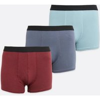 3 Pack Burgundy and Blue Boxers New Look